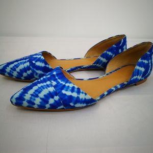J Crew Women's 8.5 Blue and White Tie Dye d'Orsay